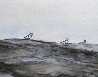 Original Seacoast Watercolor Painting Pen Ink Art Pemaquid Point Rocks Seagulls Plein Air Landscape Seascape Kathleen Daughan Massachusetts