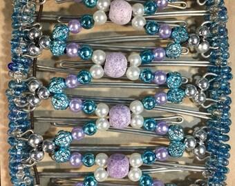 Beaded Elastic Wire Hair Comb, Elastic Comb, Hair Clip, Extremely Thick Hair, Blue, Purple, Mermaid Hair, Unicorn Hair, Dreads