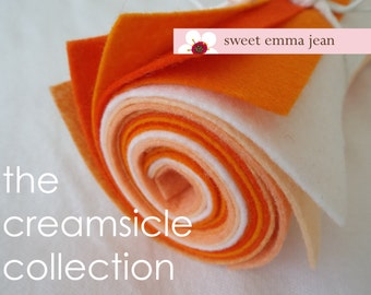 9x12 Wool Felt Sheets - The Creamsicle Collection - 8 Sheets of Felt