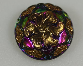 Vintage Czech Glass Button, 27mm
