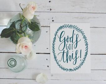 8x10 God's Got This Hand-lettered Digital Print