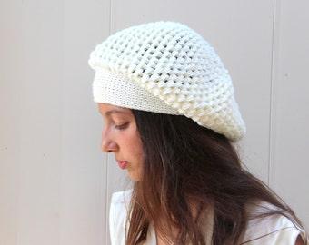 White Hat Knit Hat Hats Hat Knit Beanie Winter Hat Beanie Women Hat Caps and Beanies Winter Cap Winter Beanie Hand knitted hat Knitted