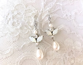 Bridal Earrings, white opal wedding earrings, pearl bridal earrings, pearl earrings, wedding jewelry ARLETTE