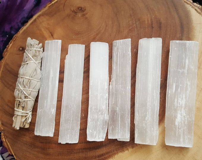 Selenite base for charging crystals, flat wand ~ 1 Reiki infused 5x1 inch (approximately) rough stick (wand)