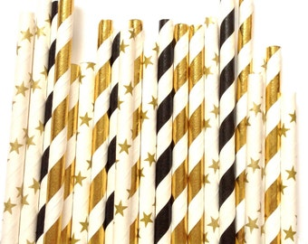 Black & Gold stars paper straws-graduation straws, new years eve party, twinkle twinkle little star party, oscar party