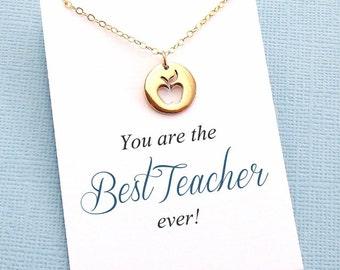 Teacher Gifts   Graduation Gift, Apple Pendant Necklace Teacher Appreciation, Class of 2018 Teacher Gift, Mentor Gift, Gift for Teacher   T4