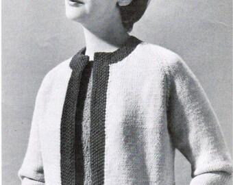 Women's Bordered Raglan Jacket Knitting Pattern PDF / Sizes 14 16 18 20 / Raglan cardigan with border pattern / Vintage mad men sweater