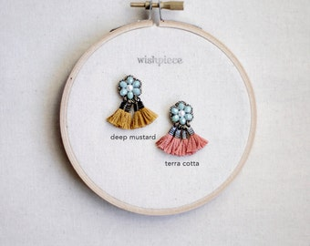 BEADED FRINGE EARRINGS / aquamarine / tassel earrings / fan earrings / handmade jewelry gift / wishpiece