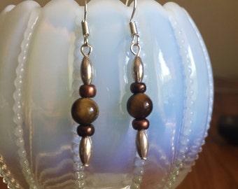 Tiger Eye Earrings, Tiger's Eye Earrings, Gemstone Earrings, Silver Earrings, Rice Bead Earrings, Copper Bead Earrings, Boho Earrings