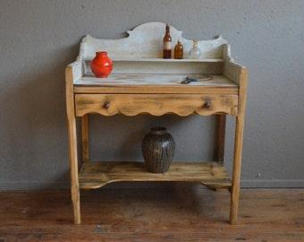Coiffeuse vintage rétro shabby chic bohème années 40 campagne dressing table french furniture midcentury bohemian deco bois belle lurette