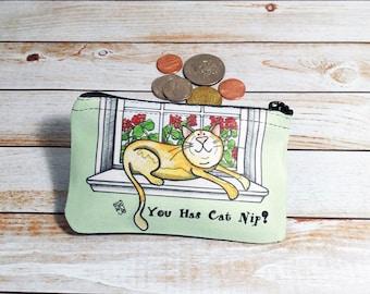 Cat Nip Coin Purse changement pochette porte-monnaie dans une fenêtre avec des fleurs géraniums menthe verte Sunshine