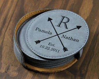 Personalized Coasters, Personalized Leather Coaster Set, Custom Coasters, Engraved Leather Coasters, Personalized Coaster Gift Set