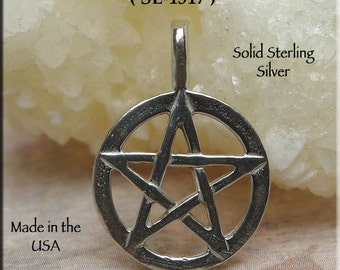 Pentacle Necklace in Sterling Silver - Pagan, Wicca, Wiccan, Amulet - .925 Sterling Pentagram Necklace, SE-1517