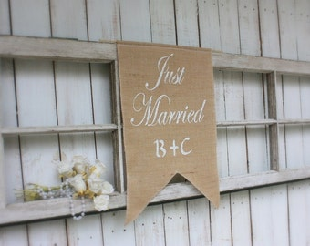 Just Married banner personalized with your initials