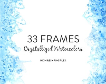 Watercolor Backgrounds - Hand painted crystallized watercolor frames / watercolor borders/edging for scrapbooking, stationery or decor