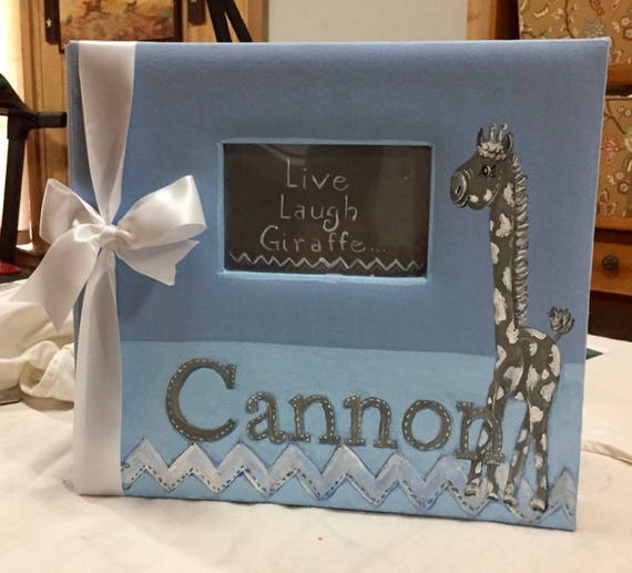 Live, Laugh...Giraffe Boy Baby Memory Book | Blue and Gray