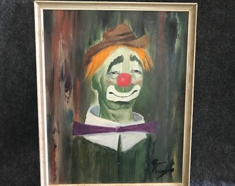 Vintage signed clown painting