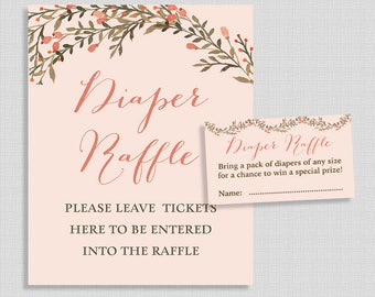 Diaper Raffle Sign and Tickets, Peach Wreath, Gender Neutral Baby Shower, Invite Insert, INSTANT PRINTABLE