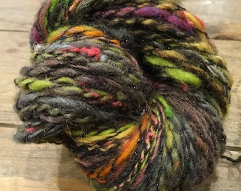 AUTUMN GLOW DK hand spun art yarn 114 metre single fine plyed with thread Knit Crochet or Weave