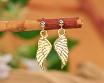 Gold wing earrings, angel wings, fairy wing earrings, cute gold earrings, gold dangle earrings, gold wing jewelry, gold filled earrings