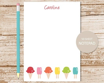 ice cream personalized notepad . ice cream cone note pad . personalized stationery . girls stationary