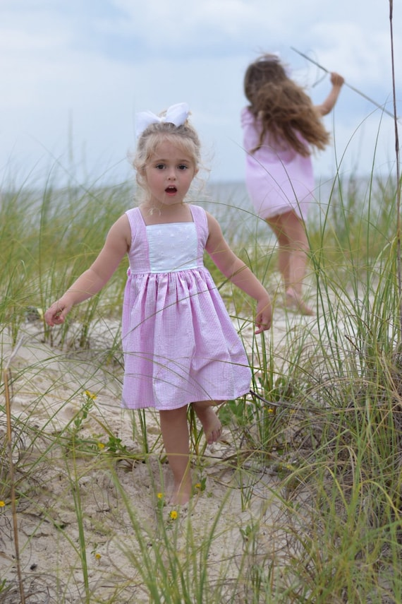 Girls Pink Seersucker Dress with Eyelet Inset - Eyelet Dress - Seersucker Dress - Monogrammed Dress - Pink easter Dress -  Pink Seersucker