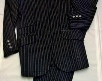 Women's/Ladies Black Pin Stripe Pantsuit, Vintage 80's Pant Suit, 100% Wool, Fully Lined, Like New