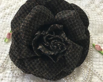 1 coton BROWN BLACK FLOWER