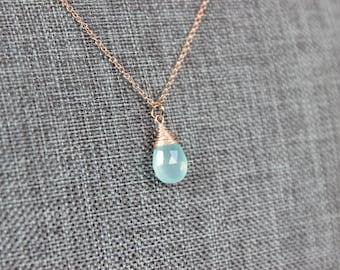 Aqua Blue Chalcedony Rose Gold Necklace