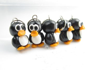 Penguin Knitting Stitch Markers Set of 5 miniature animal charms, cute charms, knit, knitting accessories, gift for knitters, penguin charms