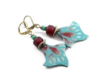Handmade Earrings,  Enameled Earrings, Brass Earrings, Teal and Dark Red Earrings, Artisan Earrings, Boho Earrings, OOAK Earrings,  AE206