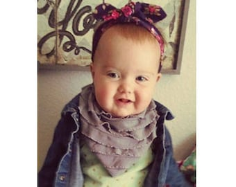 Designer bib, ruffles, bandana bib, ready to ship, three layer bib, drool bib, baby girl bib, 1st birthday bib, first birthday, two snaps
