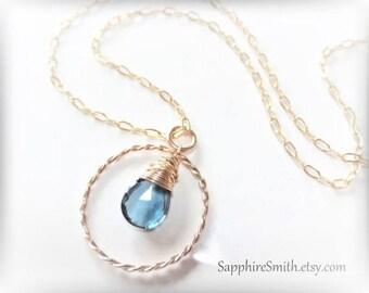 LONDON LUXE Luxurious London Blue Topaz Briolette, 14kt Gold Filled Necklace, December birthstone
