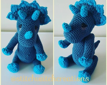 TILLY THE TRICERATOPS Crochet Pattern - Amigurumi Pdf Instant Download