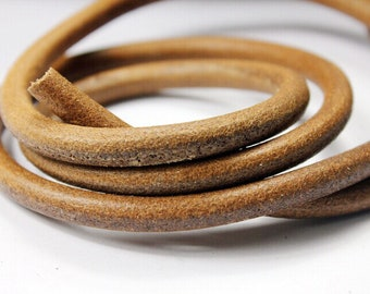 8mm Diameter Dark Natural Tan Genuine Leather Cords, 8mm Round Real Cowhide Leather 1 Yard RLG8M-222