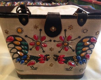 """Vintage canvas jeweled Enid Collins canvas & leather purse """"Red Roosters"""""""