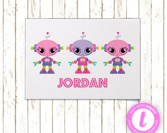 Girly Robots Thank You Cards | Printable PDF or JPEG | Templett | KBI211TY