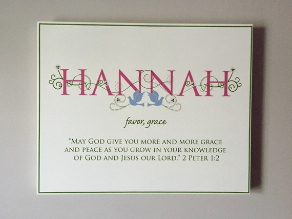 HANNAH Name Art Canvas with Name Meaning and Scripture Verse, 16x20 - wall art baby name meaning