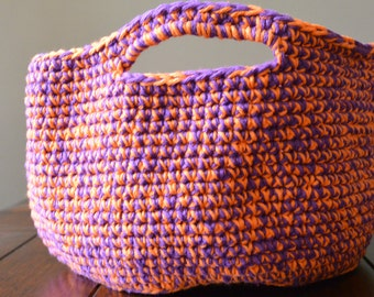 Ready to Ship-Purple & Orange Basket/ Crochet Basket/ Storage Basket