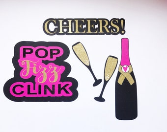 Photo Booth Props | Bridal Shower Photo Booth Props | Bachelorette Party Photo Booth Props | Champagne Bottle | Pop Fizz Clink | Cheers