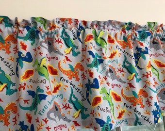 Fire Breathing Dragons Valance ~ Boys Room ~  42 Inches Wide
