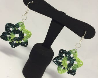 Flower earrings dark green shaded crochet lily-mother's Day