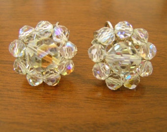 Vintage Coro Earrings, Vintage Coro 1950s Earrings, Coro AB Crystal Earrings, Vintage 50s Clip on Earrings, Coro Earrings, Vintage Coro