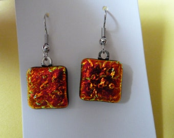Hypo-Allergenic Textured Copper Coloured Dichroic Glass Drop Earrings with Surgical Steel Ear Wires
