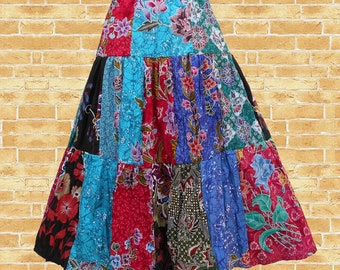 Colorful Patchwork Long Tiered Skirt, Patchwork Skirt, Handmade Patchwork, Long Skirt, Boho Skirt, Bohemian Gypsy Skirt, - CL2