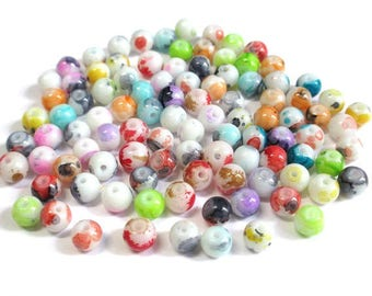 100 white speckled glass beads mix color 6mm