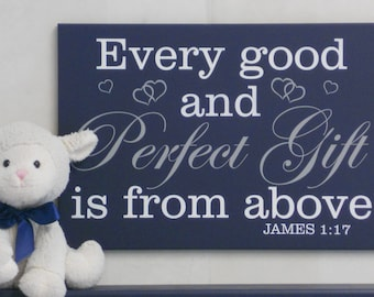 Every good and perfect gift is from above James 1:17 - Navy Christian Wall Art - Religious Nursery Room Decor - Baby Boy Shower Gift