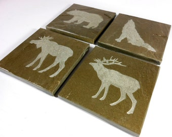 Woodland Animals Coasters: Bear, Deer, Wolf, Moose - 4 Hand Carved Slate Stone Coasters - Drink Coasters Elk Lodge Cabin Rustic Decor Gift