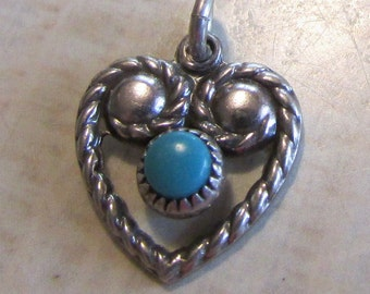 Sterling Silver and Blue Cab Heart Pendant