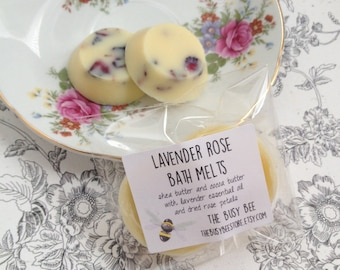 All Natural Lavender Rose Bath Melts 1 oz - Moisturizing Bath and Beauty Product